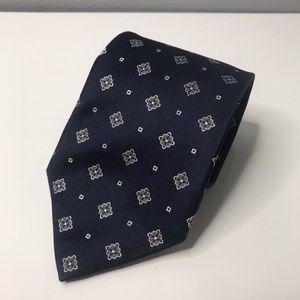 Ermenegildo Zegna Navy Ivory Floral Printed Tie